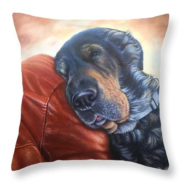 Throw Pillow featuring the painting Hoss by Mike Ivey