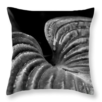 Hosta Leaf In Black And White Throw Pillow