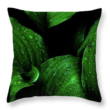 Hostas After The Rain I Throw Pillow