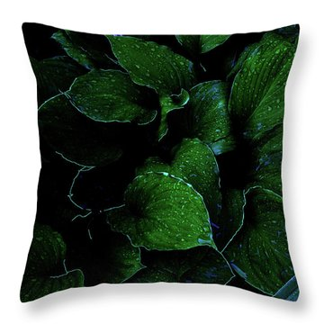 Hostas After The Rain II Throw Pillow