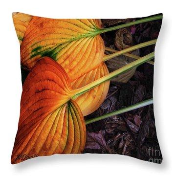 Hostas In Autumn Throw Pillow