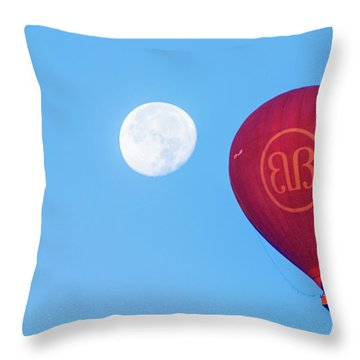 Throw Pillow featuring the photograph Hot Air Balloon And Moon by Pradeep Raja Prints