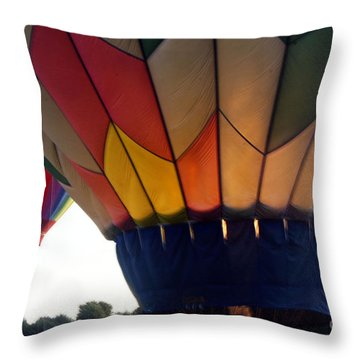 Hot Air Balloon Throw Pillow by Debra Crank