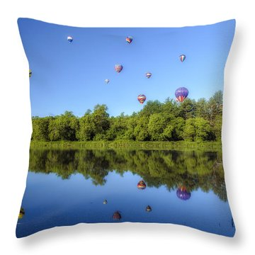 Quechee Balloon Fest Reflections Throw Pillow