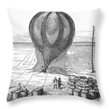 Hot Air Balloon Inflation Throw Pillow by Granger