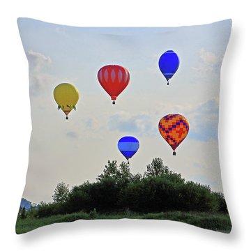 Throw Pillow featuring the photograph Hot Air Balloon Launch by Angela Murdock