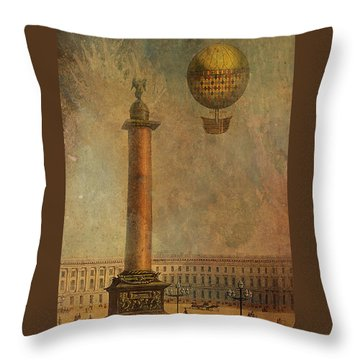 Throw Pillow featuring the digital art Hot Air Balloon Over St Petersburg And The Hermitage by Jeff Burgess