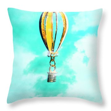 Hot Air Balloon Pendant Over Cloudy Background Throw Pillow