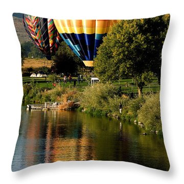 Hot Air Balloon Rally Throw Pillow by David Patterson
