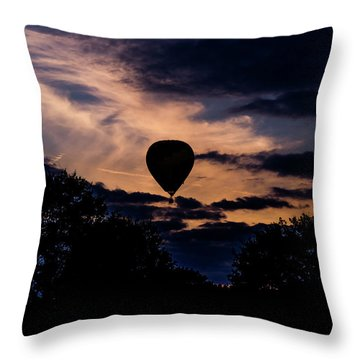 Hot Air Balloon Silhouette At Dusk Throw Pillow