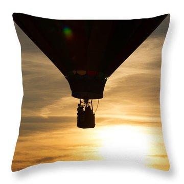 Hot Air Balloon Sunset Silhouette Throw Pillow