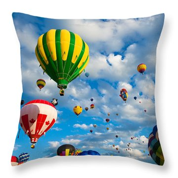 Hot Air Balloons 2 Throw Pillow by Nicolas Raymond