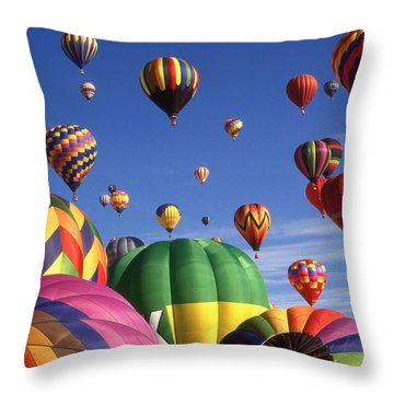 Beautiful Balloons On Blue Sky - Color Photo Throw Pillow