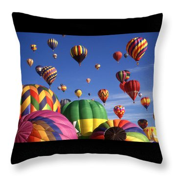 Beautiful Balloons On Blue Sky Throw Pillow