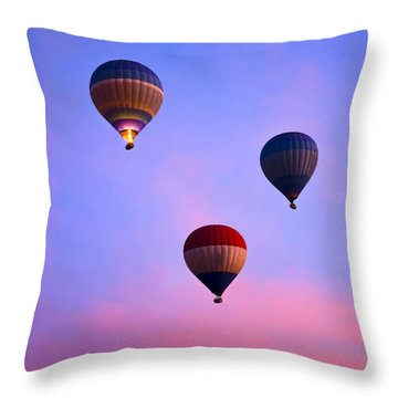 Hot Air Balloons At Dawn Throw Pillow