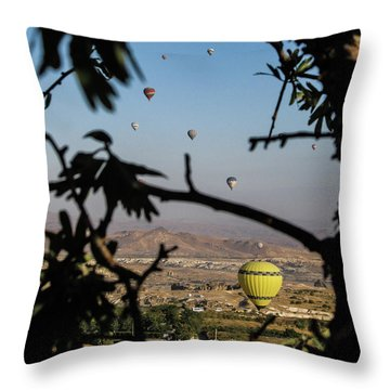 Hot Air Balloons In Cappadocia, Turkey Throw Pillow