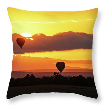 Hot Air Balloons In Surise Orange Africa Sky Throw Pillow