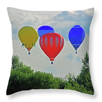 Throw Pillow featuring the photograph Hot Air Balloons In The Sky by Angela Murdock