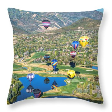 Hot Air Balloons Over Park City Throw Pillow