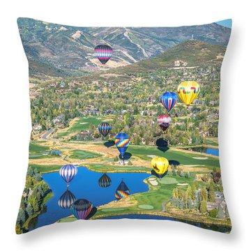 Hot Air Balloons Over Park City Throw Pillow