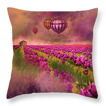 Throw Pillow featuring the photograph Hot Air Balloons Over Tulip Fields by Jeff Burgess