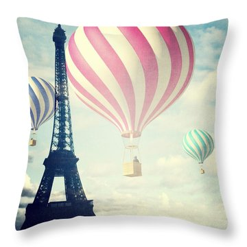 Hot Air Balloons In Paris Throw Pillow