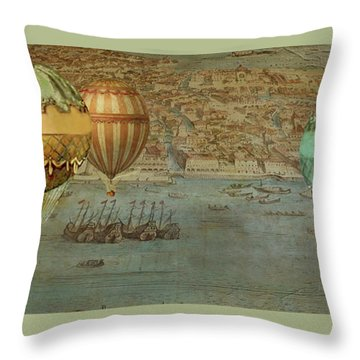 Throw Pillow featuring the digital art Hot Air Baloons Over Venus by Jeff Burgess