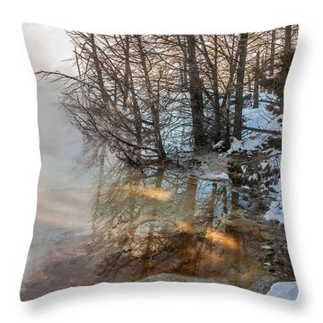 Hot And Cold In Yellowstone Throw Pillow