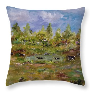 Throw Pillow featuring the painting Hot August Afternoon by Judith Rhue