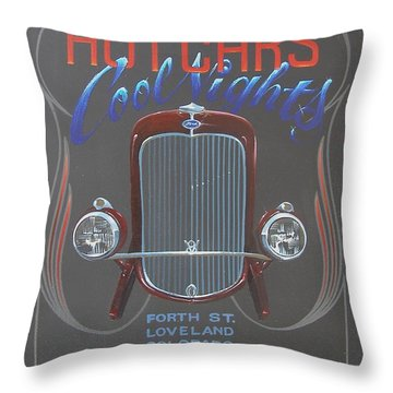 Throw Pillow featuring the painting Hot Cars Cool Nights by Alan Johnson