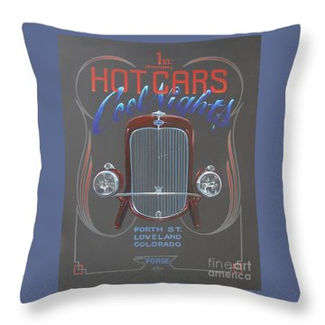 Hot Cars Cool Nights Throw Pillow