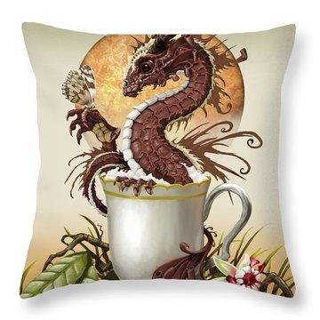 Hot Chocolate Dragon Throw Pillow