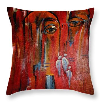 Throw Pillow featuring the painting Hot City by Dragica  Micki Fortuna