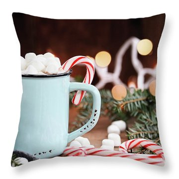 Throw Pillow featuring the photograph Hot Cocoa With Marshmallows And Candy Canes by Stephanie Frey