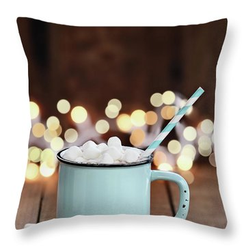 Throw Pillow featuring the photograph Hot Cocoa With Mini Marshmallows by Stephanie Frey