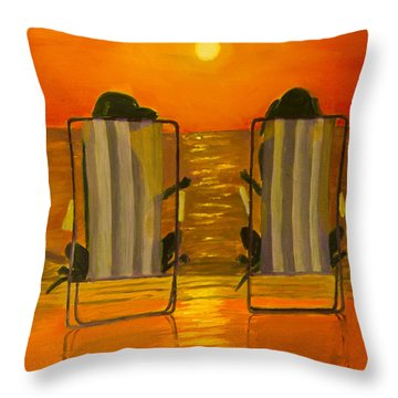 Hot Day At The Beach Throw Pillow by Roger Wedegis