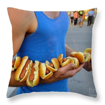 Hot Dog Man Throw Pillow