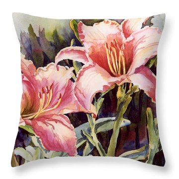 Hot Lillies Throw Pillow by Roxanne Tobaison