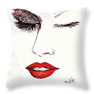 Throw Pillow featuring the pastel Hot Lips by Desline Vitto
