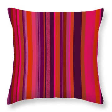 Hot Pink And Orange Stripes - Two Throw Pillow