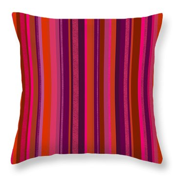 Hot Pink And Orange Stripes Throw Pillow