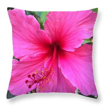 Hot Pink Hibiscus  Throw Pillow by Russell Keating