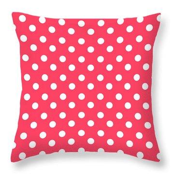 Hot Pink Polka Dots Throw Pillow