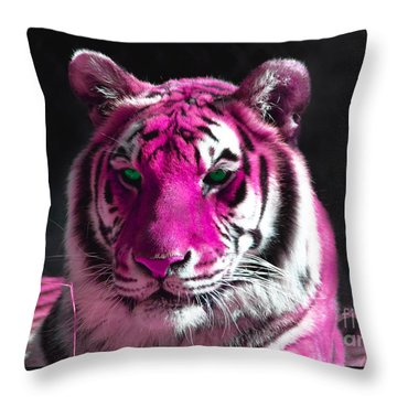 Hot Pink Tiger Throw Pillow by Rebecca Margraf