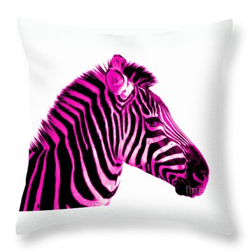 Hot Pink Zebra Throw Pillow by Rebecca Margraf