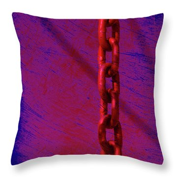 Hot Red Chain Throw Pillow by Susanne Van Hulst