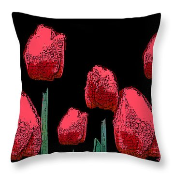 Hot Red Tulips Throw Pillow