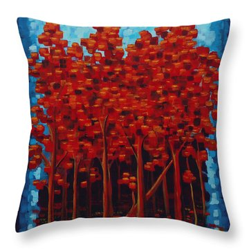 Throw Pillow featuring the painting Hot Reds by Holly Carmichael