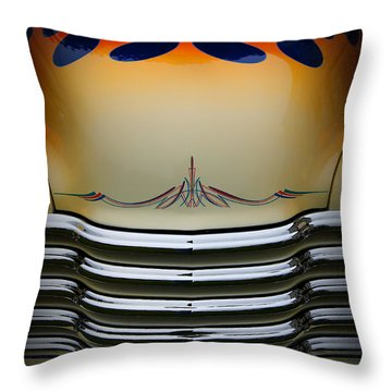 Hot Rod Truck Hood Throw Pillow