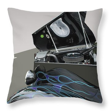 Throw Pillow featuring the photograph Hot Rod With Flames by Bill Thomson